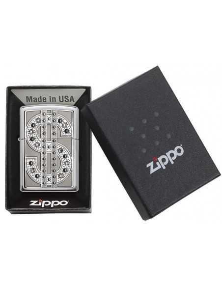 Zippo High Polish Chrome Dollar Bling Brichete Zippo Zippo Manufacturing Company