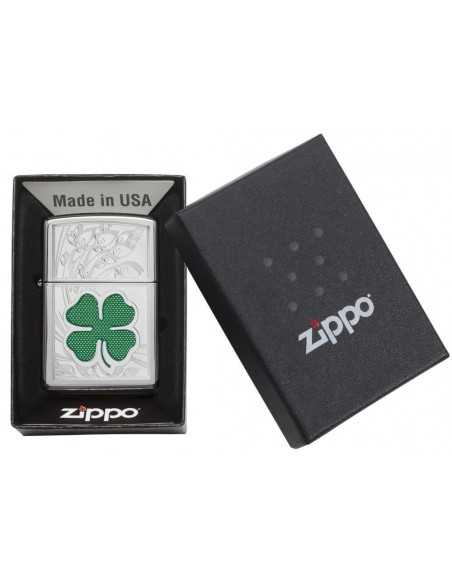 Zippo High Polish Chrome Four Leaf Clover Brichete Zippo Zippo Manufacturing Company